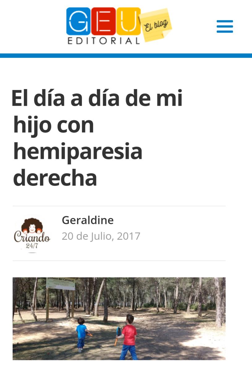"""""""El día a día de mi hijo con hemiparesia derecha."""" Colaboración  con Editorial Geu."""